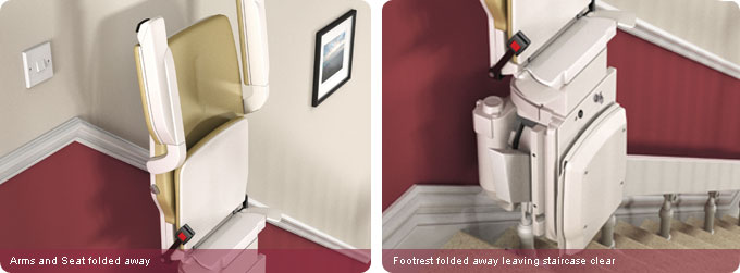 Curved stair lift folded