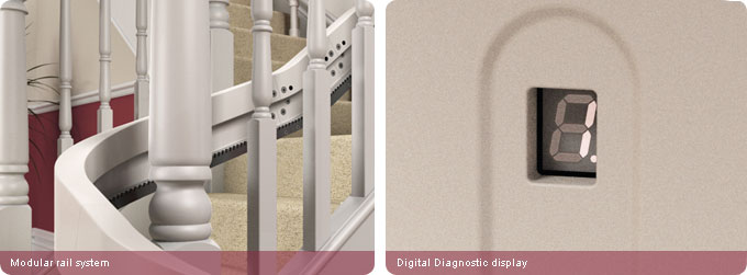 Curved stair lifts modular rail system and digital diagnostic display